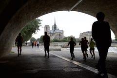 巴黎圣母院看法从画廊的 免版税库存照片