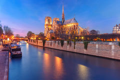 巴黎圣母院,法国大教堂日落的 免版税库存照片