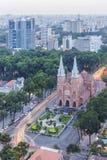 巴黎圣母院amd在日落的市中心 图库摄影
