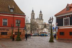 圣法兰西斯泽维尔教会,位于在老镇考纳斯,立陶宛 免版税库存图片