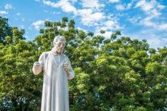 圣法兰西斯泽维尔雕象在圣保罗` s教会前面废墟的  马六甲 库存照片