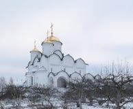 圣洁保护女修道院在苏兹达尔 Pokrovsky妇女` s修道院在冬天 苏兹达尔 俄国 免版税图库摄影