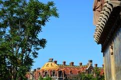 圣洁十字架和圣保罗, Hospital de la圣诞老人Creu的医院我de Sant波城,巴塞罗那,卡塔龙尼亚,西班牙 免版税库存照片