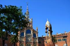 圣洁十字架和圣保罗, Hospital de la圣诞老人Creu的医院我de Sant波城,巴塞罗那,卡塔龙尼亚,西班牙 库存照片