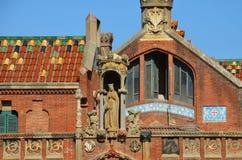 圣洁十字架和圣保罗, Hospital de la圣诞老人Creu的医院我de Sant波城,巴塞罗那,卡塔龙尼亚,西班牙 免版税库存图片