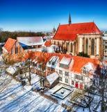 圣洁十字架的修道院,冬时的罗斯托克德国 免版税图库摄影