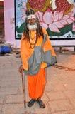 圣洁印度人sadhu瓦腊纳西 免版税库存照片