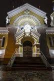圣洁变貌大教堂在晚上 Zhitomir日托米尔 图库摄影