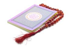 圣洁古兰经和Tasbih 库存照片