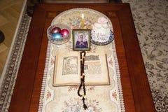 圣洁复活节的宴餐的静物画 库存照片