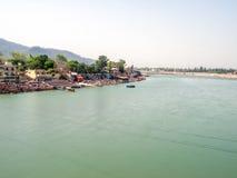 圣洁恒河的全景视图 库存图片