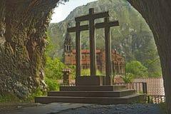 圣洁洞,我们的科瓦东加洞,阿斯图里亚斯,西班牙的夫人 免版税库存图片