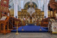 圣洁玛丽,中心的看法Panagia Faneromeni教会修改 库存图片