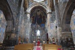 圣洁的贞女的教会的内部在Akhtala修道院里,洛里地区 免版税图库摄影