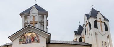 圣洁皇帝康斯坦丁和海伦娜的东正教在Alexandru Odobescu街上的在布拉索夫市在罗马尼亚 图库摄影