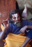圣洁者纵向sadhu shaiva 库存照片