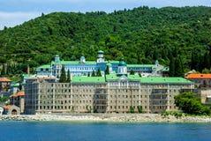 圣洁Panteleimon的俄国修道院在Athos的 库存照片