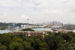 圣淘沙,新加坡, 2017年12月15日:从缆车的鸟瞰图 库存图片