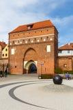 圣灵和城市墙壁,托伦,波兰的门 免版税库存照片