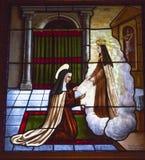 圣特里萨天使彩色玻璃阿维拉卡斯提尔西班牙 图库摄影