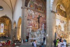 圣玛丽亚中篇小说大教堂内部在佛罗伦萨,意大利 免版税图库摄影