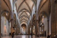 圣玛丽亚中篇小说教会,佛罗伦萨内部  图库摄影
