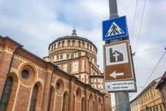 圣玛丽亚代勒Grazie标志 库存照片