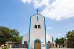 圣玛丽亚市教会在婆罗双树海岛,佛得角- Cabo Verde 免版税库存图片