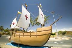 圣玛丽亚帆船的模型,在1492年使用由克里斯托弗・哥伦布,帕洛斯德拉夫龙特拉(Espaï ¿ ½ a),西班牙 免版税库存图片
