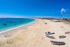 圣玛丽亚海滩鸟瞰图在婆罗双树佛得角- Cabo Verde的 免版税图库摄影