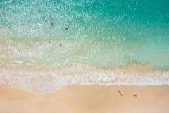圣玛丽亚海滩鸟瞰图在婆罗双树海岛佛得角- Cabo 免版税图库摄影