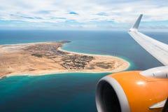 圣玛丽亚鸟瞰图在婆罗双树海岛佛得角- Cabo Verde 免版税库存照片