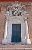 圣玛丽亚Assunta教会入口(XVI c.)。热那亚,意大利 免版税库存图片