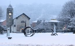 圣玛丽亚Assunta教会, Giubiasco,瑞士 库存照片