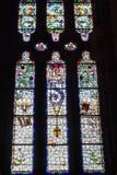 圣玛丽亚de Valldonzella修道院,污迹玻璃窗 库存图片