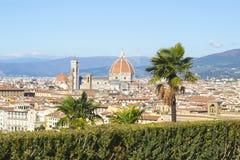 圣玛丽亚del菲奥雷,佛罗伦萨,意大利,都市风景,老镇的历史的中心佛罗伦萨和大教堂全景  免版税库存照片