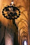 圣玛丽亚Del Mar教会的天花板在巴塞罗那 卡塔龙尼亚 免版税库存图片