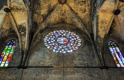 圣玛丽亚del Pi的内部在巴塞罗那,卡塔龙尼亚,西班牙。 免版税库存图片