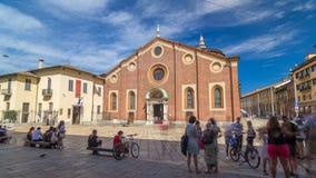 圣玛丽亚delle Grazie与蓝色多云天空的timelapse hyperlapse 股票录像