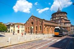 圣玛丽亚delle Grazie教会在米兰,意大利 免版税库存照片