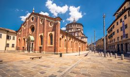 圣玛丽亚delle Grazie教会在米兰,意大利 免版税库存图片