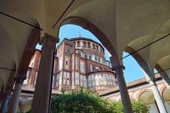 圣玛丽亚delle Grazie教会在米兰 免版税库存照片