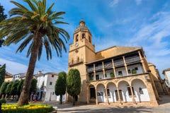 圣玛丽亚la市长教会在朗达 安大路西亚,西班牙 库存图片