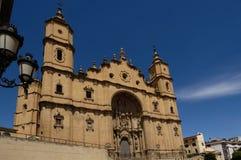 圣玛丽亚la Alcañiz,特鲁埃尔省市长,教会  免版税库存照片