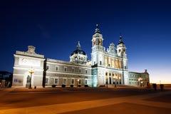 圣玛丽亚la Real de La Almudena Catholic大教堂在马德里 库存图片