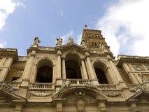 圣玛丽亚Maggiore大教堂的门面的细节在罗马意大利 库存照片
