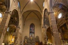 圣玛丽亚Maggiore,天主教堂内部在Flore 库存照片