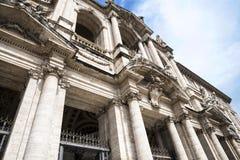 圣玛丽亚Maggiori大教堂的门面在罗马意大利 免版税图库摄影