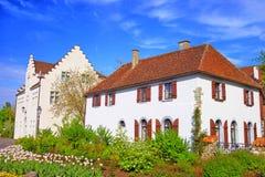 圣玛丽和标记修道院在赖兴瑙岛 免版税图库摄影