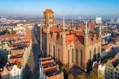 圣玛丽大教堂在格但斯克,波兰 免版税库存图片